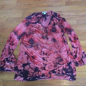 One World silky (almost sheer) fall colors blouse